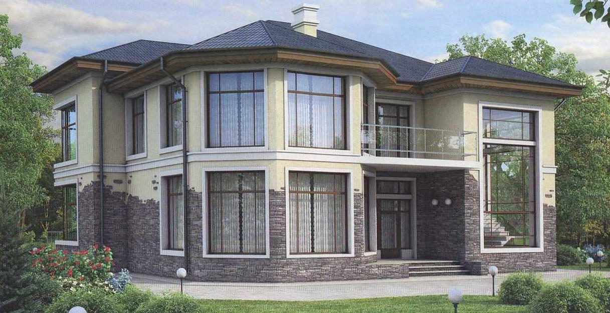 Отделка фасадов — облицовочный природный камень.
