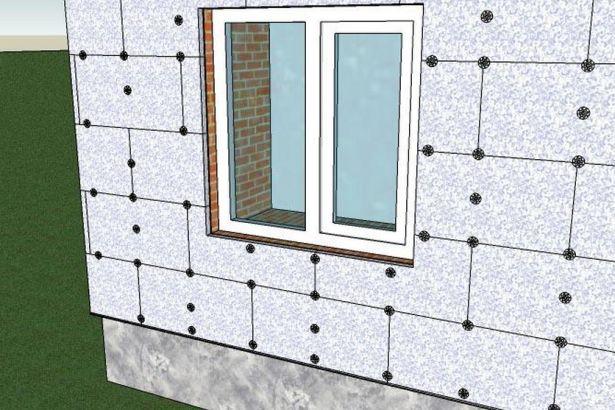 Утепление стены пенопластовыми панелями