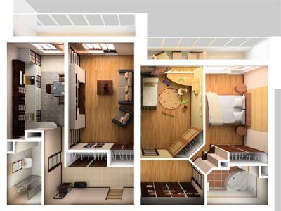 Перепланировка квартиры студии и интерьерное оснащение
