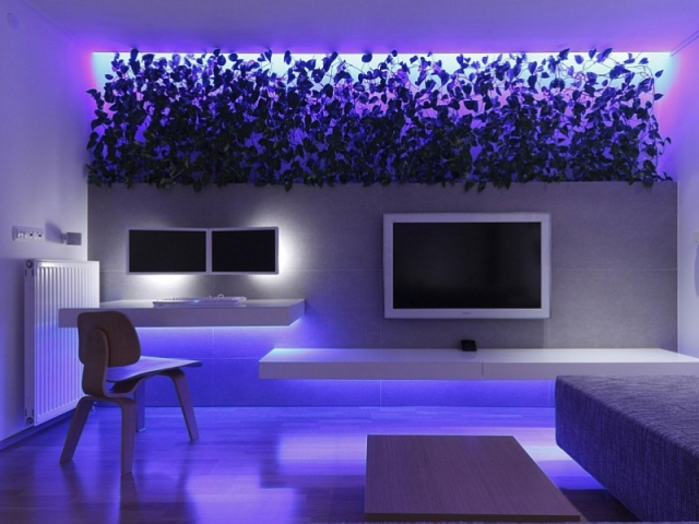 декоративная подсветка стен и фотообои разделяется