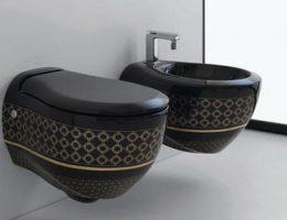 Дизайн туалета с черным унитазом