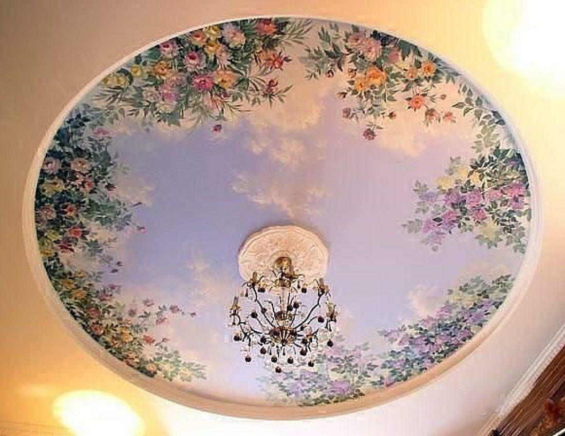 Роспись в интерьере потолок
