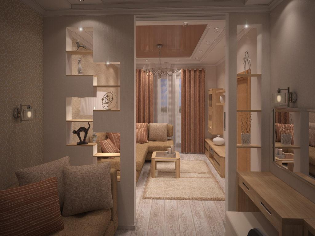 Дизайн гостиной комнаты и прихожей с лёгкой перегородкой