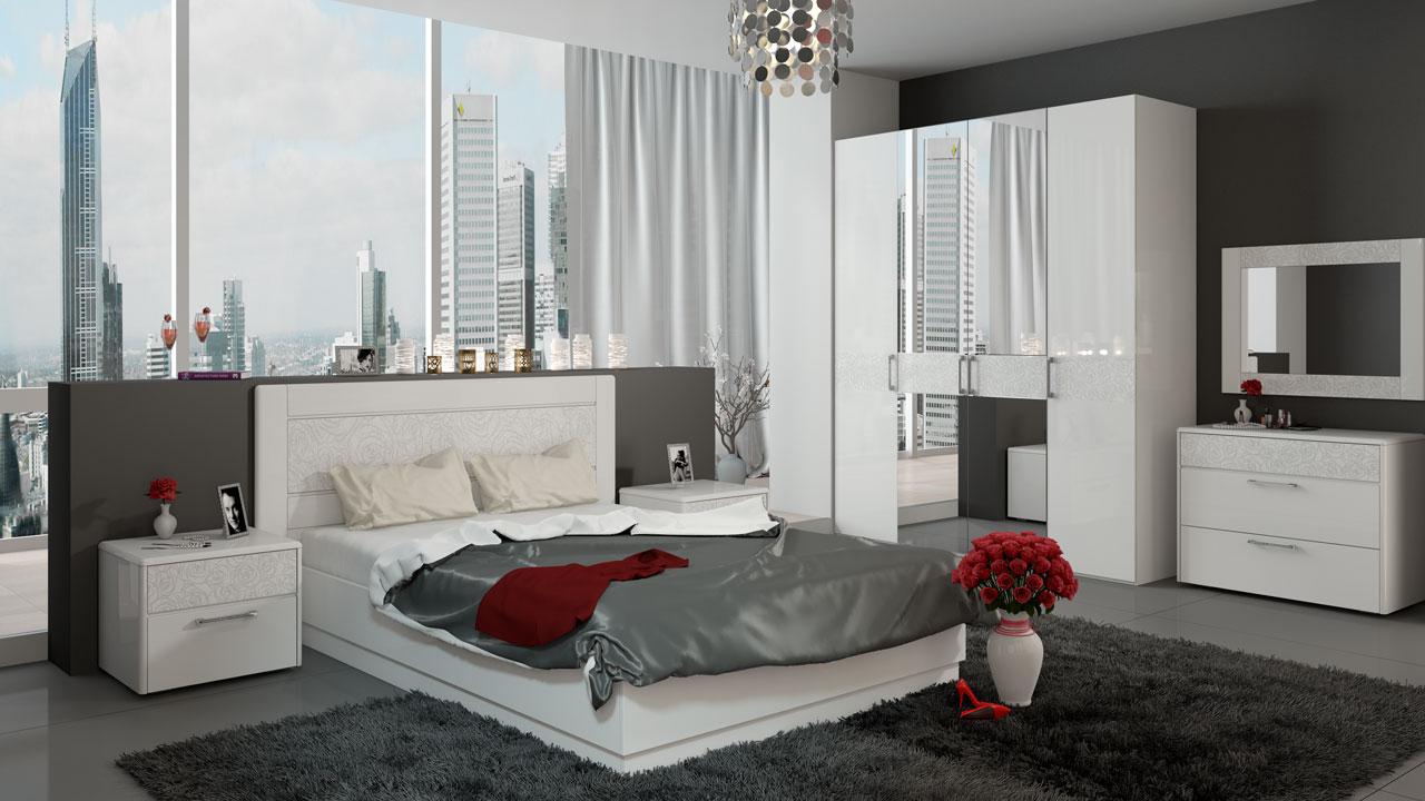 Мебель для спальни — белый глянец