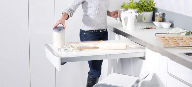 Выдвижной стол — идеи для маленькой кухни