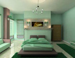 Cпальня в малахитово-пастельных тонах