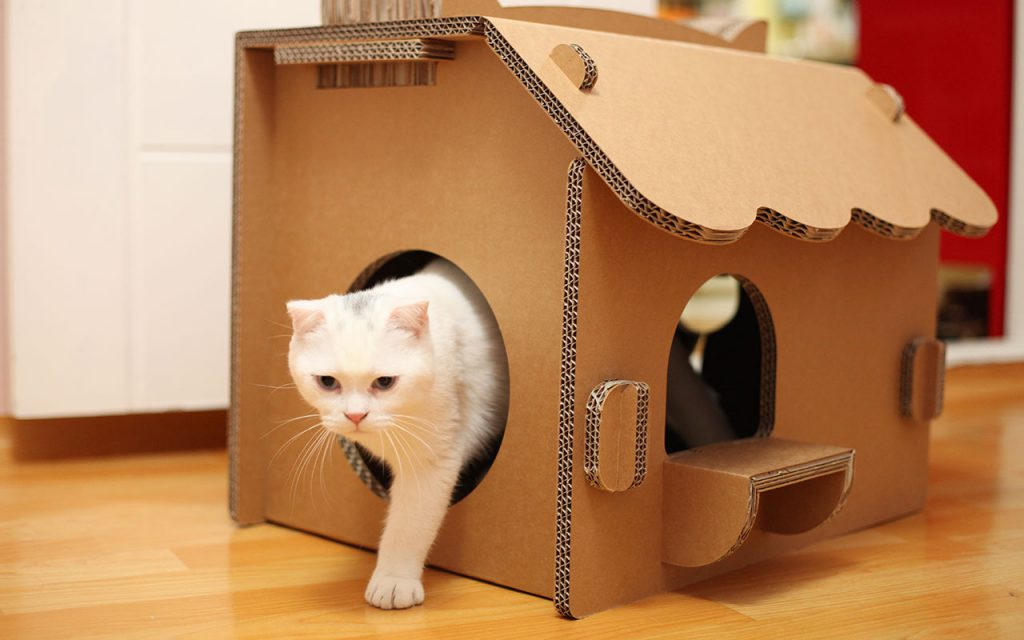 Домик для кошки своими руками фото из картона своими руками 27