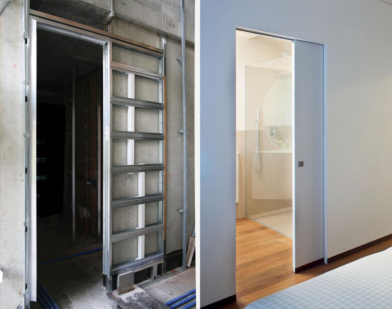 Монтаж механизмов раздвижных межкомнатных дверей