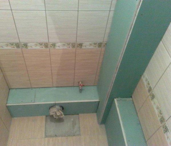 Монтаж короба из гипсокартона в туалете