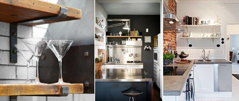 4 идеи как сделать красивые кухонные полки из дешевых материалов