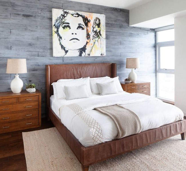 Модные кровати с кожаным изголовьем