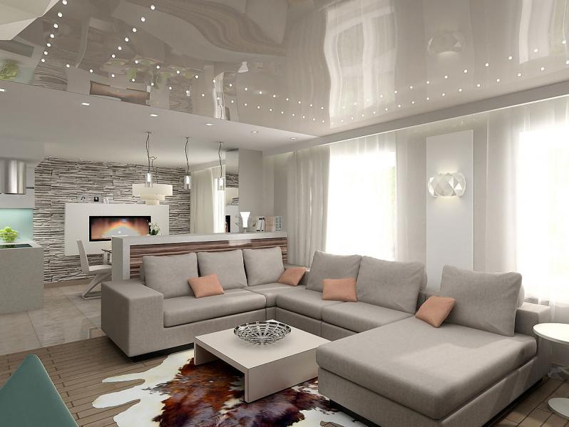 Как используются натяжные потолки в дизайне интерьера