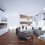 Интерьер трёхкомнатной квартиры — черничная стена в спальне и двери-невидимки