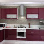 Оформление дизайна бордовой кухни