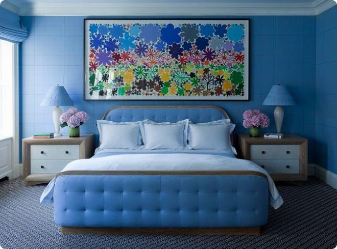 Синяя спальня – умиротворяющий интерьер