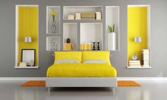 Сложная гармония желто-серого интерьера